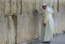 Pope Francis - Wikipedia, Francis praying at the Western Wall in Jerusalem on his 2014 visit to the Holy Land