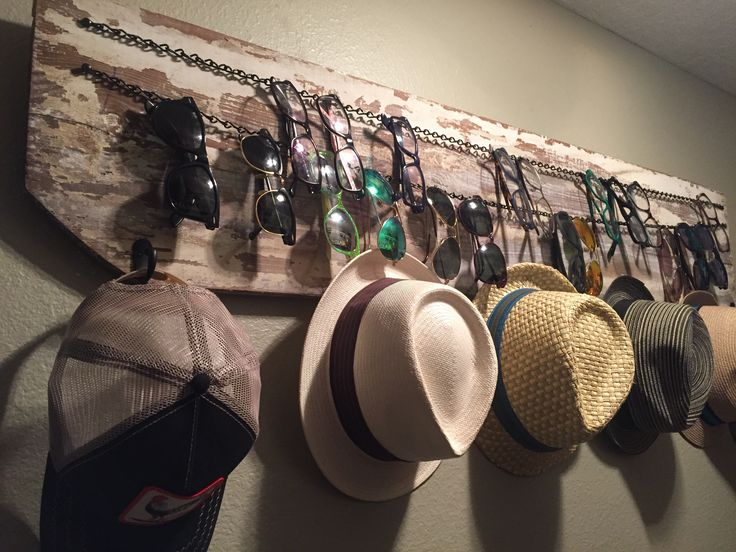Made this storage area for all my glasses and a few of my hats.  Sunglass Storage