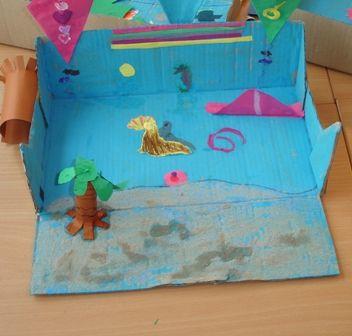 * Het strand en de zee! Een opdracht die de kinderen zelf moet invullen. De kinderen moeten een ruimtelijk werkje maken m.b.v een doos. Het voorste gedeelte is het strand... daarachter de zee en de lucht. (eventueel sturen door met de kinderen bootjes te vouwen etc.)