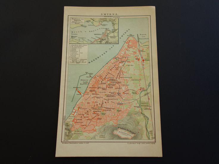 "Antique map of Izmir Turkey - original 1900 old city plan Smyrna Greece Σμύρνη - plattegrond van Stadtplan von de Ville - 6x10"" by VintageOldMaps on Etsy"