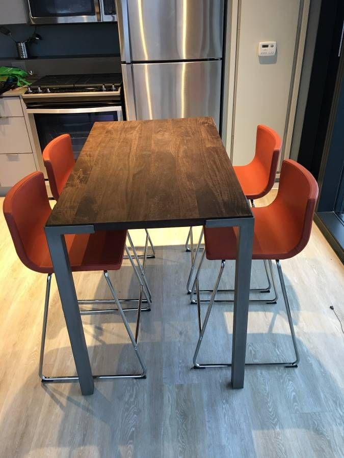 IKEA Bernhard orange bar stools & table - sharp, clean look