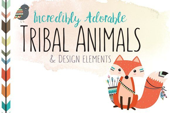 Huge Tribal Animal Clipart Bundle by Kenna Sato Designs on @creativemarket