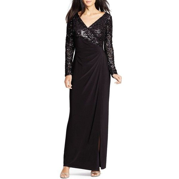 Women's Lauren Ralph Lauren Sequin Jersey Gown ($116) ❤ liked on Polyvore featuring dresses, gowns, petite, petite evening gowns, sequin evening gowns, sequin evening dresses, petite evening dresses and petite ball gowns