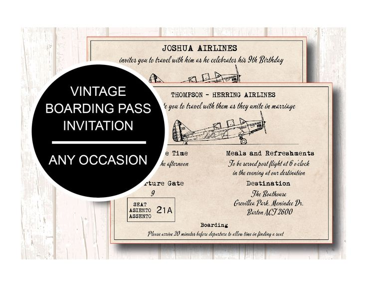 Boarding Pass Wedding Invitation, Boarding Pass Invite, Boarding Pass Ticket, Birthday Boarding Pass, Boarding Pass Save the Date, by PaperColada on Etsy