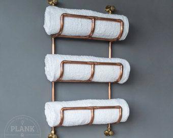 Cobre tubo toallero de baño en un Industrial / urbano estilo. Carril de nivel 3. Hechos a mano