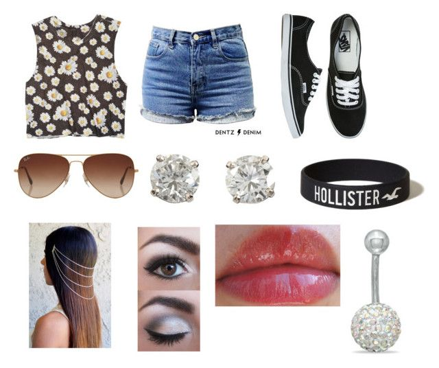 """""""Day out with Tyler!"""" by olmagcon-xox ❤ liked on Polyvore featuring dELiA*s, Vans, Rayban and Hollister Co."""