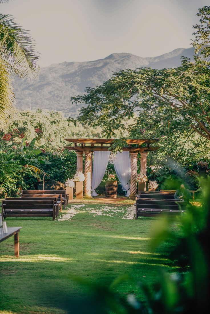 This is why I fell in LOVE with this venue!  From the moment I saw a picture of the mountain behind the arch in the background, I knew I would get married here. Well, here it is - the aisle I walked down to meet my Prince Charming. It was perfect. This place was Heaven on Earth; Hacienda Siesta Alegre. Puerto Rico Destination Wedding