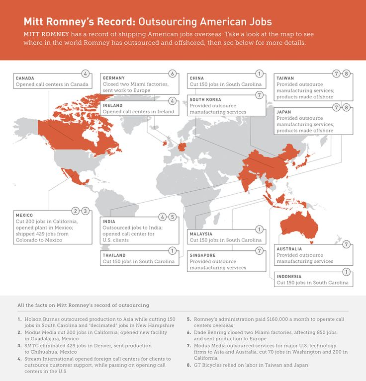 A map of all the jobs @mittromney outsourced while at his previous job.