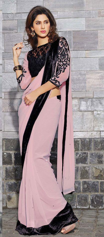 Interesting designed Pink  Black #saree #sari #blouse #indian #outfit  #shaadi #bridal #fashion #style #desi #designer #wedding #gorgeous #beautiful