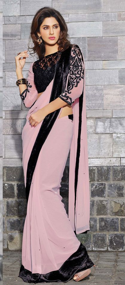Interesting designed Pink & Black saree