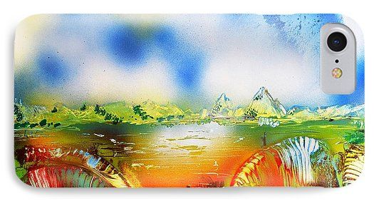 Rainbowland IPhone 7 Case Printed with Fine Art spray painting image Rainbowland by Nandor Molnar (When you visit the Shop, change the orientation, background color and image size as you wish)