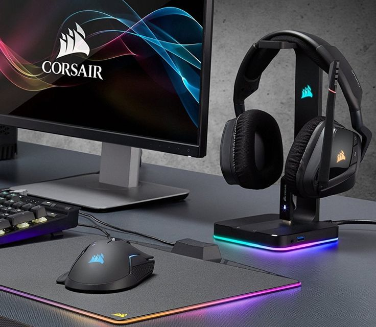 CORSAIR ST100 RGB – Premium RGB Gaming Headset Stand with 7.1 Surround Sound Headphone Audio