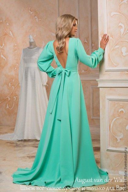 Maxi dress / Вечернее платье со шлейфом, платье с открытой спиной, красивое платье в Русском стиле от Hot Piter Style. Платье в наличии, принимаем заказы на индив пошив . Платье для красной дорожки)
