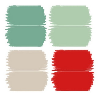 Mint green, candy apple red, seafoam green and grey