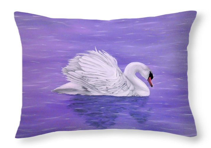 Throw Pillow, home,accessories,sofa,couch,decor,cool,beautiful,fancy,unique,trendy,artistic,awesome,fahionable,unusual,gifts,presents,for,sale,design,ideas,purple,lavender,white,swan,lake,nature,items,products