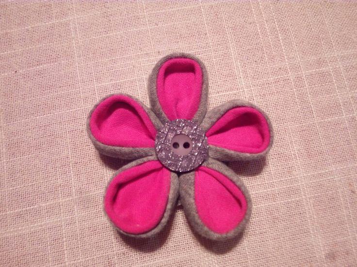 Handmade fabric flower, fabric kanzashi, hot pink and grey fabric flower, diy