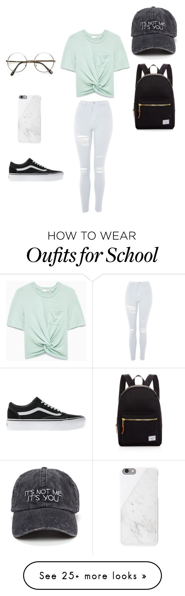 """""""Back to school?"""" by darlingdream on Polyvore featuring Topshop, Vans and Herschel Supply Co."""