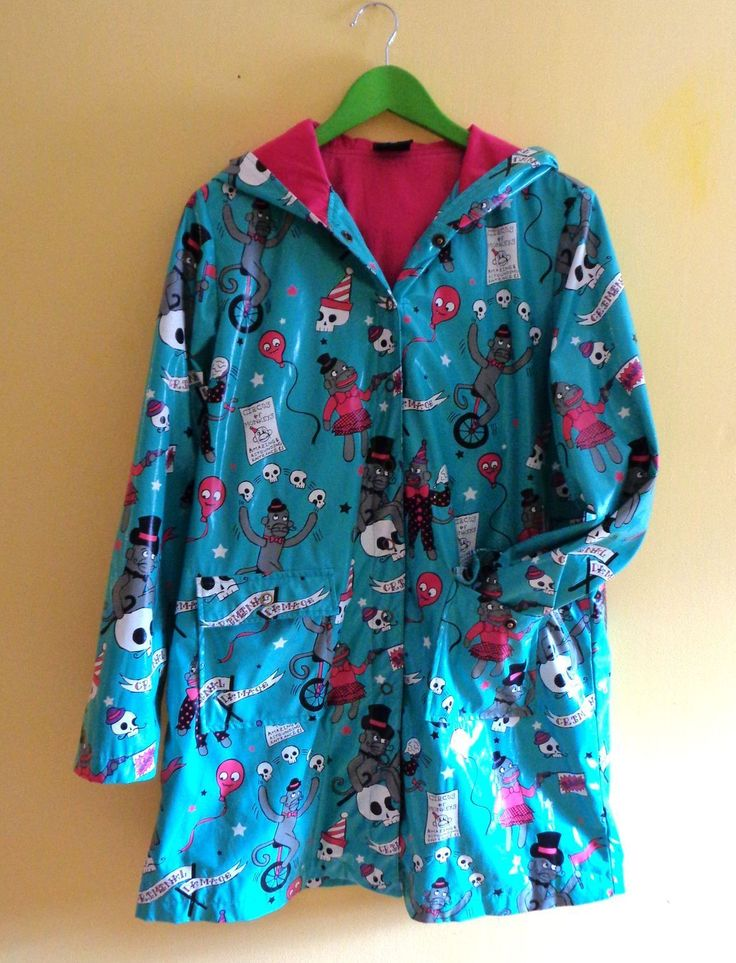 criminal damage rain coat funky print XL cotton linning iron fist lazy dropdead
