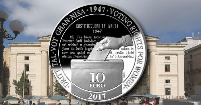 Malta: Voting rights for women celebrated on new silver €10 Proof coin | Coin Update