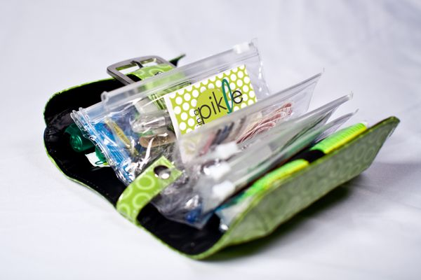 In A Pickle bag. Super cute bag filled with EVERYTHING you could ever need when in a jam. Great gift idea!: Bags Fillings, Gifts Ideas, Gift Ideas, Safety Pin, Pickled Bags, Super Cute, Great Gifts, Emergency Kits, Christmas Gifts