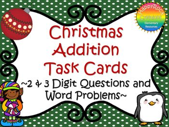 This addition task card set comes with 4 sets of task cards!!! 20 cards for 2 digit addition, 20 cards for 3 digit addition, 20 2 digit number word problems and 20 3 digit number word problems (mix of regrouping and no regrouping).  Each set comes with a student answer page and master answer page.