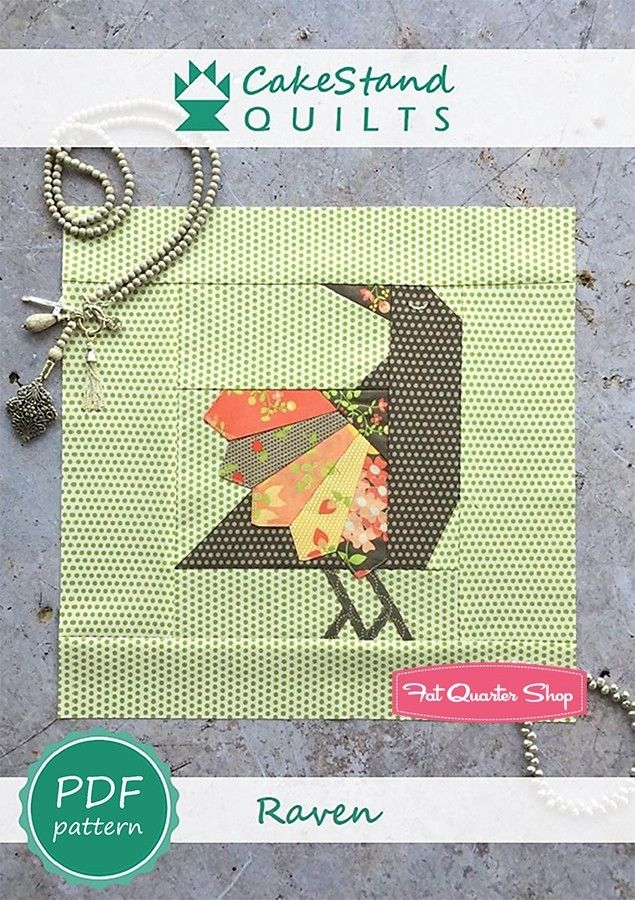 Raven Downloadable PDF Block Pattern<BR>CakeStand Quilts