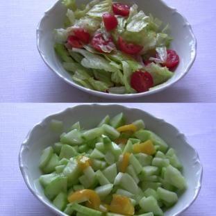 Hlávkový a uhorkový šalát na hlávkový:  hlávkový šalát  cherry paradajky  na uhorkový:  uhorky  papriku  na ochutenie:  soľ  prášk cukor  olivový olej  balzamik ocot  Rozdrobíme si hlávk šalát na kúsky a cherry paradajky si nakrájame na štvrťky. Šalát s paradajkami premiešame s 2-3 PL olivov oleja, osolíme, pocukríme a trochu balzamik octu.  Očistené uhorky nakrájame na polmesiačiky a premiešame s paprikou na plátky.Pridáme oliv olej, soľ, balzamik ocot a prášk cukor, 15 min postáť