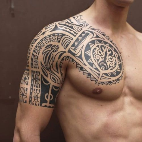 Men Chest And Upper Sleeve With Nice Flowers Tattoo: 101 Best Tribal Tattoos For Men: Cool Designs + Ideas