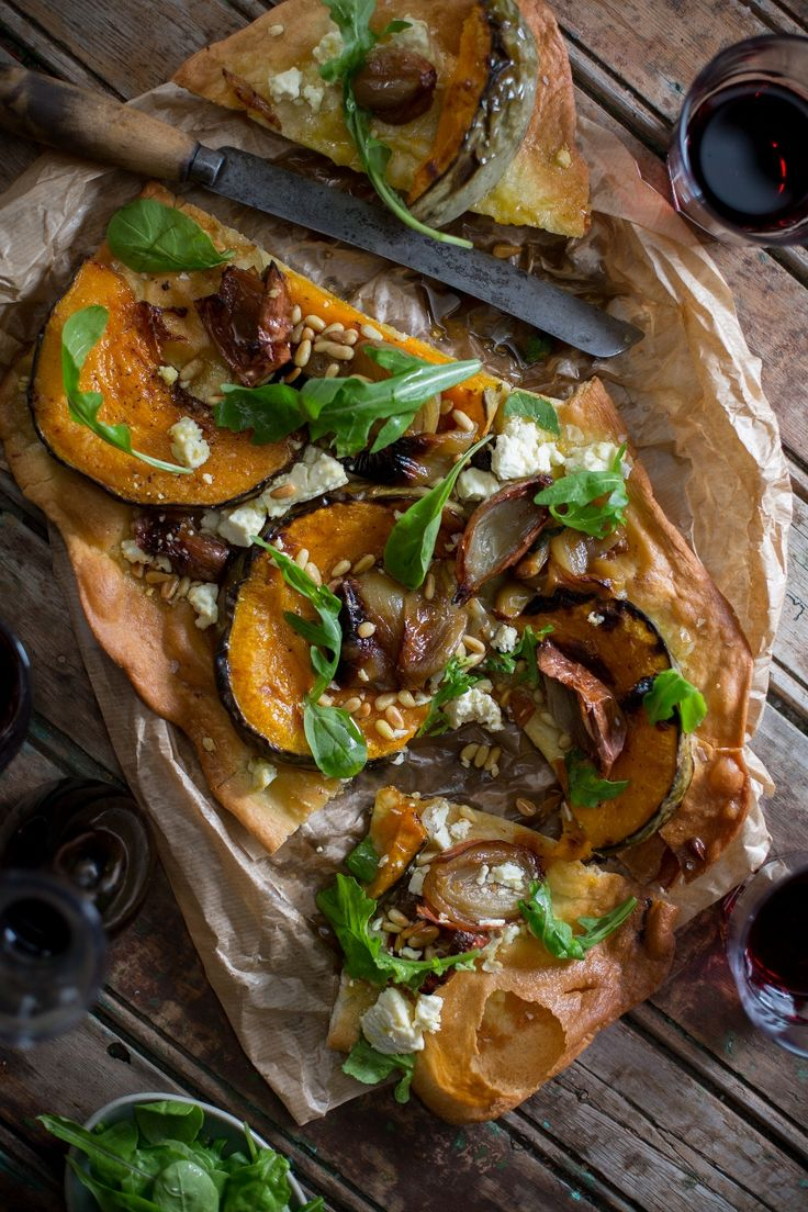 The #caramelised #pumpkin gives a sweetness that the salty #parmesan loves. #roasted #pinenuts #confitonions #rocket #shaving #redwine