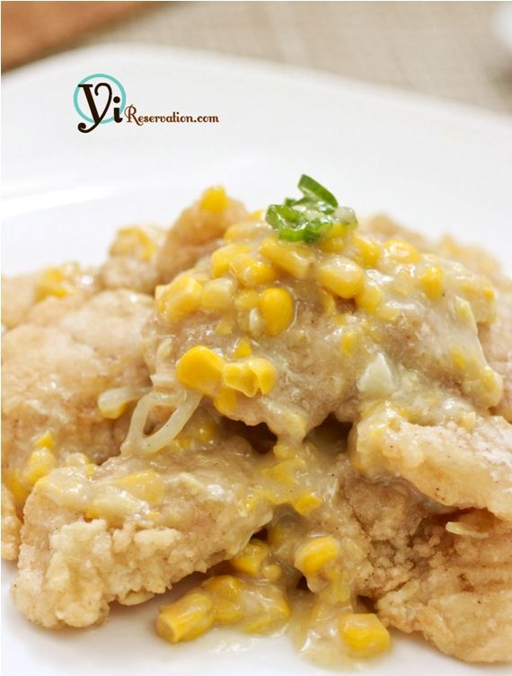 fish fillet in creamy corn sauce - one of my favorite things to order at HK-style cafes