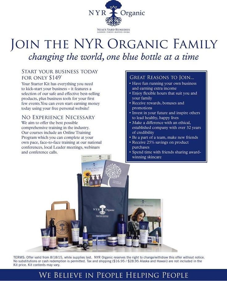 Love organic?  Join EveryGoodThing Organic and have your own NYR Organic business!  Our $149 kit includes everything you need to start discovering organic health & beauty products!  FREE website puts you in business in 5 minutes!  Low flat rate shipping, no minimum orders - ever! Interested?  Let's talk!  https://us.nyrorganic.com/shop/everygoodthing/area/become-a-consultant/