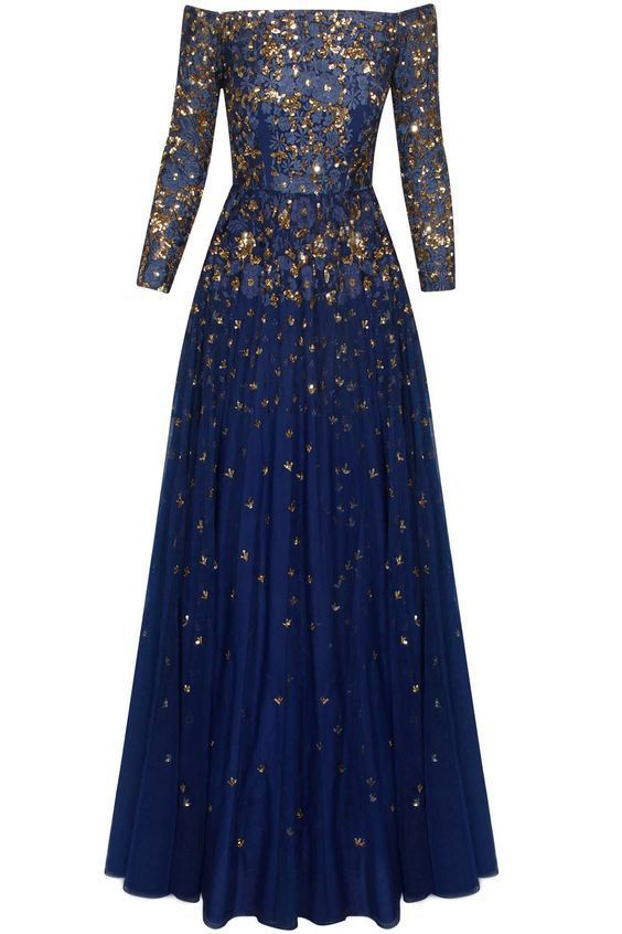 This blue off shoulder sequins Astha Narang Anarkali Gown is perfect for budget brides looking for reception wear under 45k #Frugal2Fab