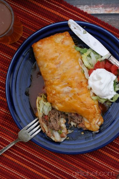 Shredded Beef Wet Burritos | girlichef.com #SundaySupper