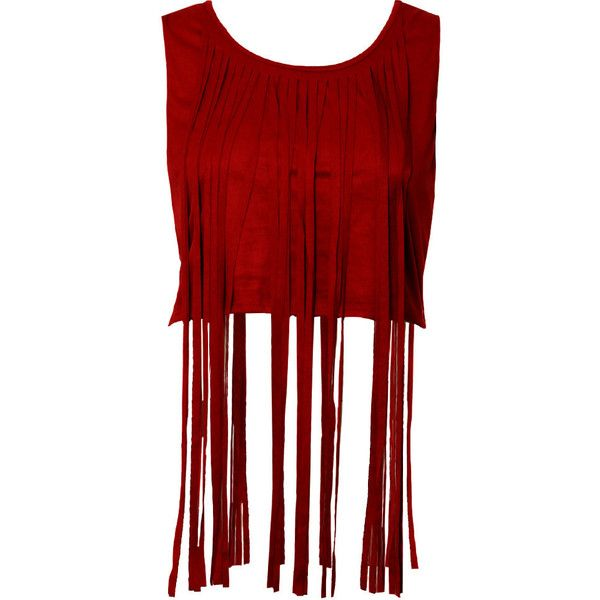 Faux Suede Fringe Top, Brick ($25) ❤ liked on Polyvore featuring tops, red sleeveless top, fringe crop top, sleeveless tops, long sleeveless tops and red top
