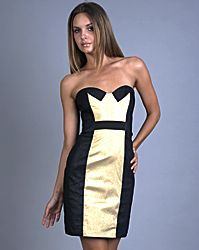 Black and Gold Lame Tuxedo Dresses by Nicole Miller