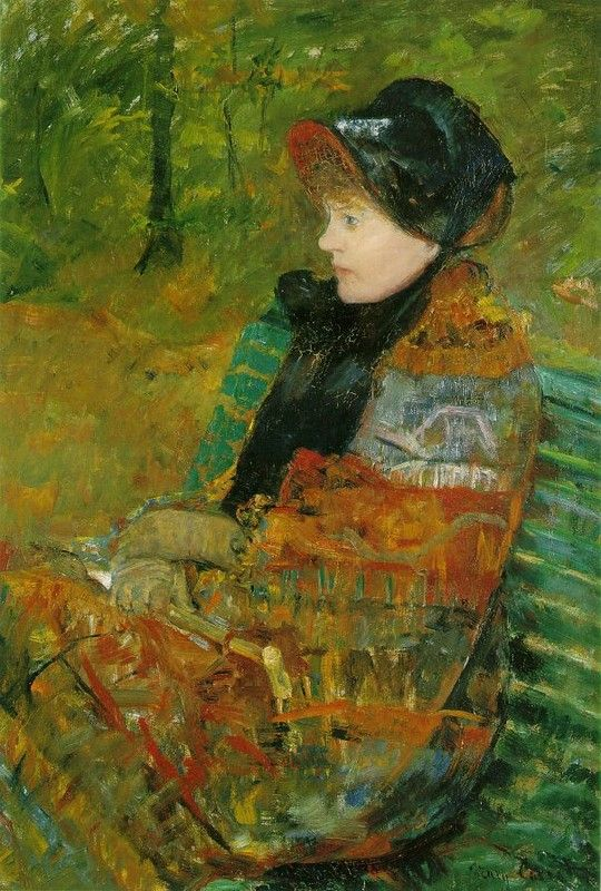 """L'automne ou Mademoiselle C"" by Mary Cassatt, portrait of her sister Lydia"