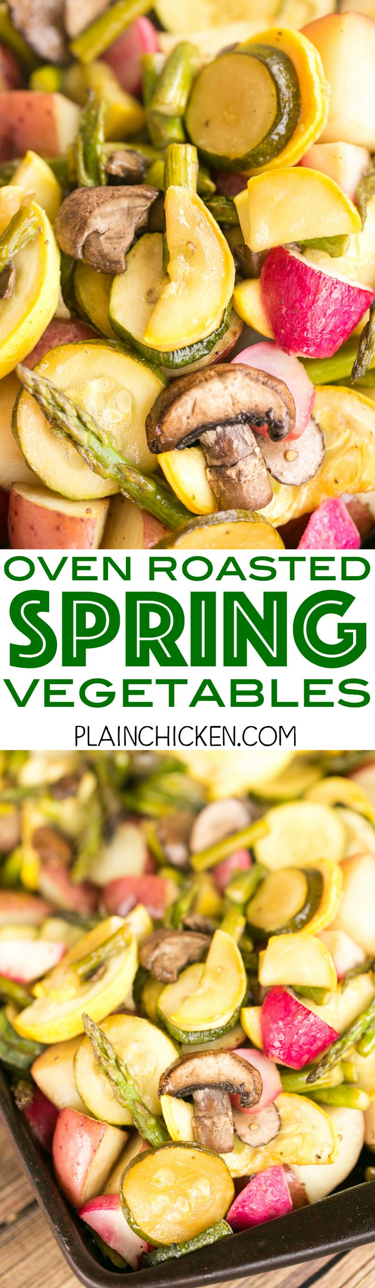 Oven Roasted Spring Vegetables - potatoes, asparagus, squash, zucchini, radishes and mushrooms tossed in balsamic vinegar and brown sugar. Something for everyone!! Such and EASY side dish recipe! Just chop, toss and bake. Ready in about 35 minutes. Everyone LOVES this dish! Great with grilled chicken, pork and steak.