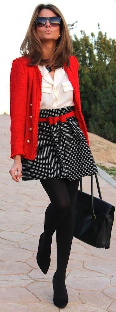 Red sweater, black skirt, leggings and white shirt. Basic, chic.