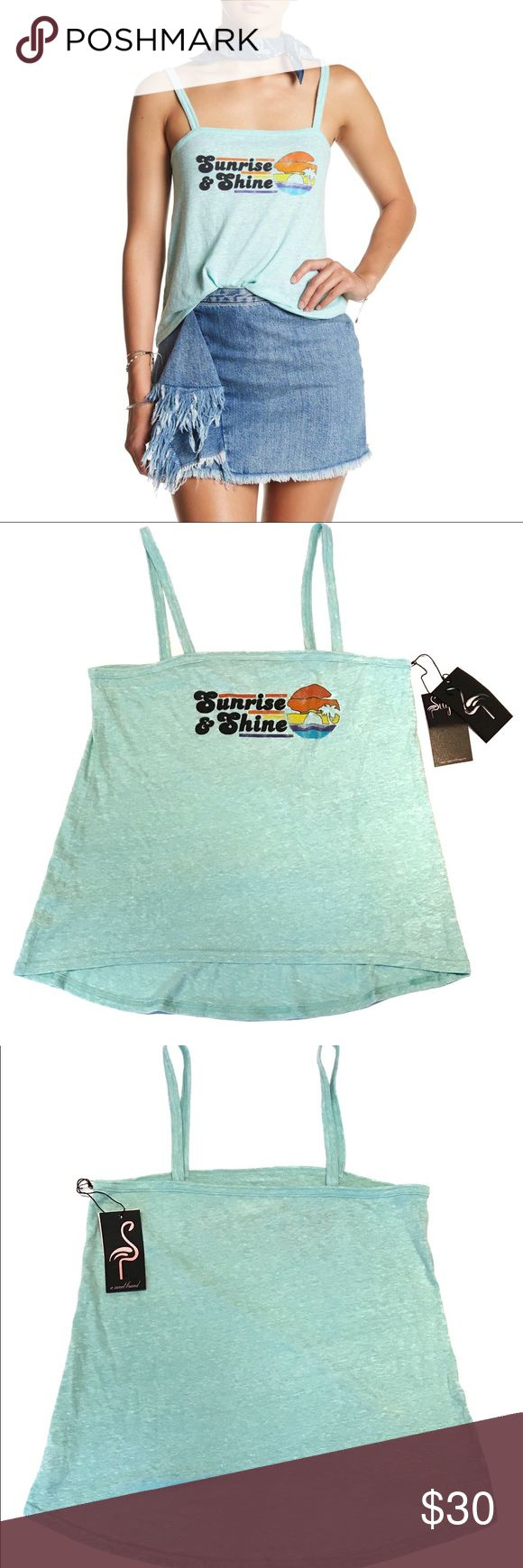 """Sugar Graphic Print Tank Top Sunrise and Shine Sugar Sleeveless Graphic Tank Top Official company color is turquoise...it is a light turquoise not a dark turquoise  70's vibe """"Sunrise and Shine"""" spelled out in felt material Size Large front length: 24 inches back length: 27 inches slightly longer in the back NWT $65 sugar Tops Tank Tops"""