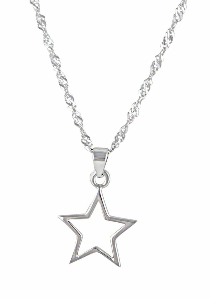 Rhodium Plated Silver Star Pendant Necklace - Bring the beauty of the night sky into your collection today with this understated Silver star pendant necklace from the Opal's star collection This sterling silver open star pendant necklace features a touch of shimmer from the twisted sparkle Rhodium plated chain. This is a beautiful piece guaranteed to find its way into your heart.
