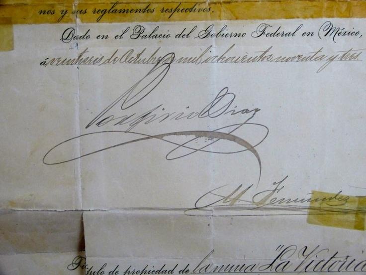 Firma de Don Porfirio Díaz.