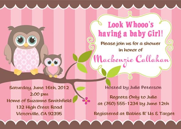 Owl Girl Baby Shower Invitations breathtaking invitation for baby shower for additional tips 5869