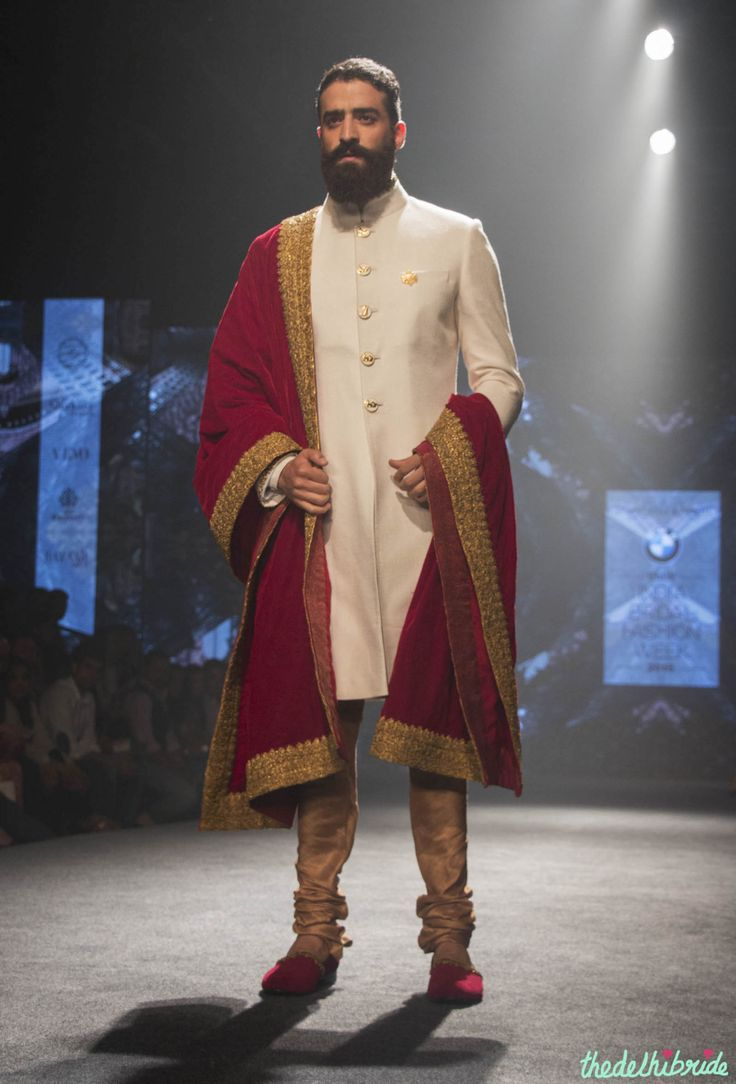 Shantanu & Nikhil - Men's Wear - Ivory Sherwani with Royal Red & Gold Dupatta - BMW India Bridal Fashion Week 2015