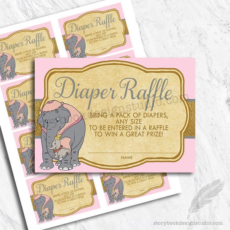 Dumbo Baby Shower Diaper Raffle Tickets / Printed Set of 10