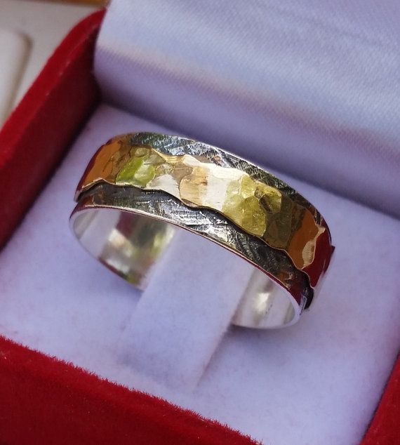 Silver And Gold Spinner Ring Handmade Wedding Band by TalyaDesign