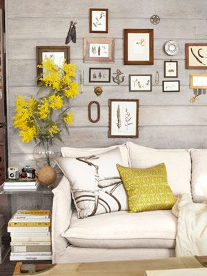 Small Cabin Decorating Ideas - Rustic Cabin Decor - Country Living: Decor Ideas, Living Rooms, Wash Wall, Country Living, Cabins Living, Rustic Cabins Decor, Yellow Accent, Small Cabins, Wood Wall