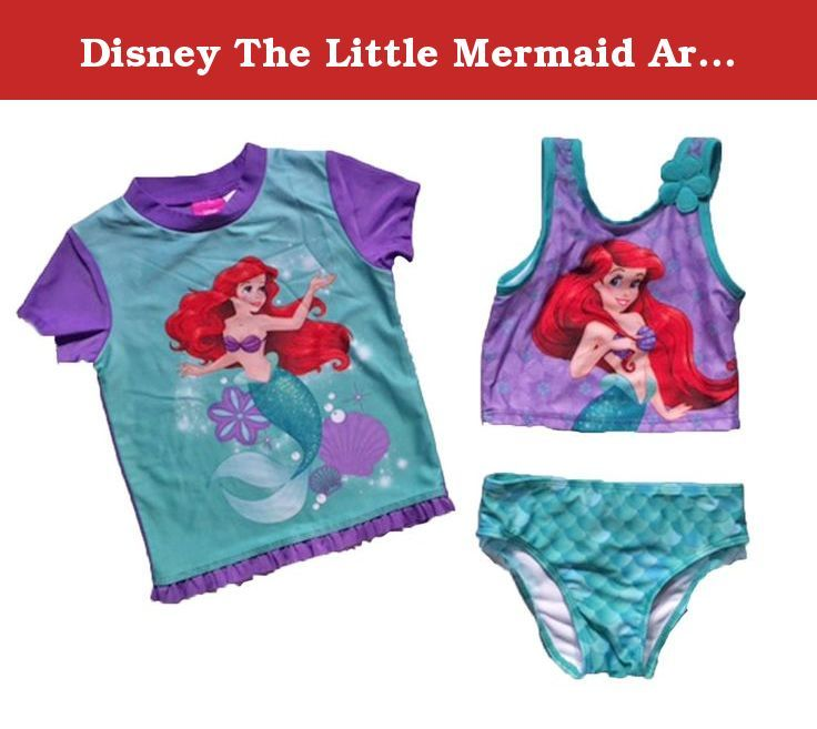 Disney The Little Mermaid Ariel Little Girls Swimsuit and Rashguard Set (2T). Little girls and toddler girls will love to wear this Disney princess The little mermaid two piece tankini swimsuit with Ariel on the front. Comes with matching short sleeve rashguard.