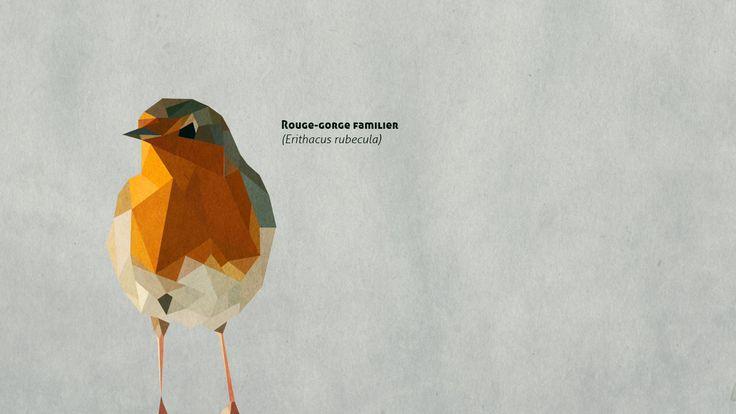 Rouge-gorge geometrique. Geometrical robin bird // animal ...