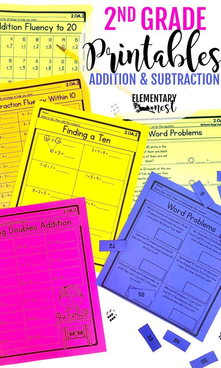 2nd Grade Math Worksheets- OA Addition and Subtraction- digital Google  Slides   2nd grade math [ 1226 x 736 Pixel ]