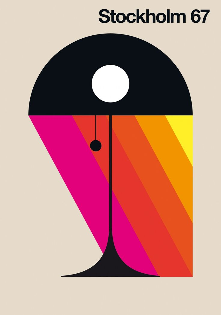 Stockholm 67 - Graphic Design - Poster, Illustration, City, Travel, Lamp, Light, Strokes, Bright Colors, Swiss Design, International Typographic Style, Minimal